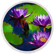 Painted Purple Water Lilies Round Beach Towel