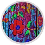Painted Table Round Beach Towel