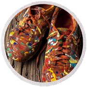 Painted Tennis Shoes Round Beach Towel