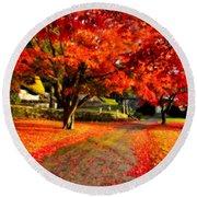 Painterly Autumn Path Round Beach Towel
