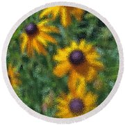 Painterly Flowers Round Beach Towel