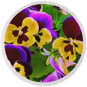 Painterly Purple Pansy Round Beach Towel