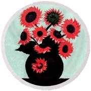 Painterly Red Sunflowers With Purple Round Beach Towel