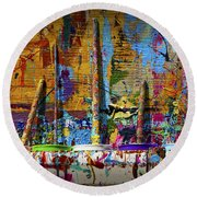 Painting Brushes At A Child's Painting Easel Round Beach Towel