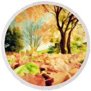 Painting Of Autumn Fall Landscape In Park Round Beach Towel