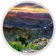 Painting Of Desert View Grand Canyon Round Beach Towel