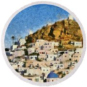 Painting Of Ios Town Round Beach Towel