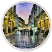 Old City Of Corfu During Dusk Time Round Beach Towel