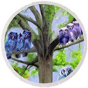 Painting Of Owls And Birds Nest In Tree Round Beach Towel
