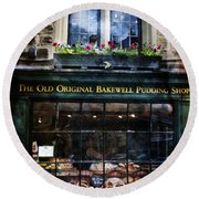 Can You See The Ghost In The Top Window At The Old Original Bakewell Pudding Shop Round Beach Towel