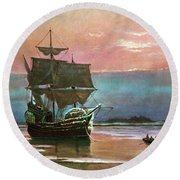 Painting Of The Ship The Mayflower 1620 Round Beach Towel