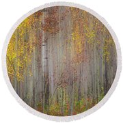 Painting Of Trees In A Forest In Autumn Round Beach Towel
