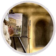 Painting The Colosseum Round Beach Towel by Stefano Senise