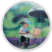 Painting The Lavender Fields Round Beach Towel