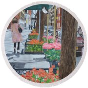 Painting The New York Street Round Beach Towel