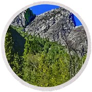 Painting Three Brothers Peaks Yosemite Np Round Beach Towel