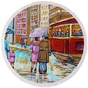 Paintings Of Fifties Montreal-downtown Streetcar-vintage Montreal Scene Round Beach Towel