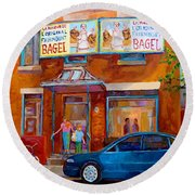 Paintings Of Montreal Fairmount Bagel Shop Round Beach Towel by Carole Spandau