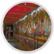 Paintings On Wall Of Middle Court Hallof Grand Palace Of Thailand Round Beach Towel