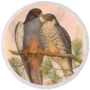 Pair Amur Falcons Round Beach Towel