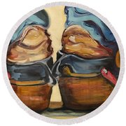 Pair Of Boots Round Beach Towel