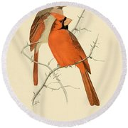 Pair Of Cardinals Round Beach Towel