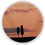 Pair Of Cypress Trees And Morning Sky In Tuscany Round Beach Towel