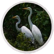 Pair Of Herons Round Beach Towel