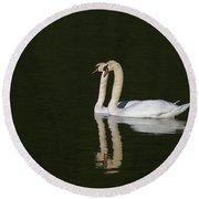 Pair Of Mute Swans Round Beach Towel
