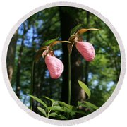 Pair Of Pink Lady Slippers  Round Beach Towel