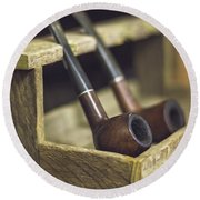Pair Of Pipes Round Beach Towel