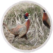 Pair Of Roosters Round Beach Towel