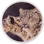 Pair Of Snow Leopards Round Beach Towel