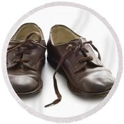 Pair Of Vintage Child Leather Shoes Round Beach Towel