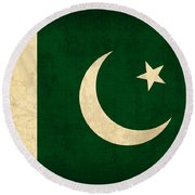 Pakistan Flag Vintage Distressed Finish Round Beach Towel by Design Turnpike