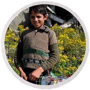 Pakistani Boy In Front Of Hotel Ruins In Swat Valley Round Beach Towel