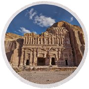 Palace Tomb In Nabataean Ancient Town Petra Round Beach Towel