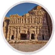 Palace Tombin Nabataean Ancient Town Petra Round Beach Towel