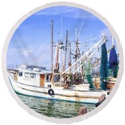 Palacios Texas Shrimp Boat Lineup Round Beach Towel