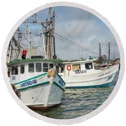 Palacios Texas Two Boats In View Round Beach Towel