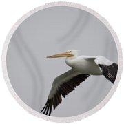 Palacios Texas White Pelican Gliding Round Beach Towel