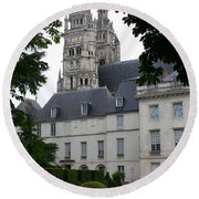 Palais In Tours With Cathedral Steeple Round Beach Towel