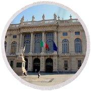 Palazzo Madama In Turin Round Beach Towel