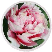Pale And Dark Pink Peony Round Beach Towel