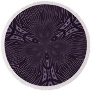 Pale Aubergine And Eggplant Abstract Pattern Kaleidoscope Round Beach Towel