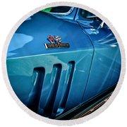 Pale Blue Rider -2 Round Beach Towel