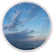 Pale Blues And Feathery Clouds In The Fading Light Round Beach Towel