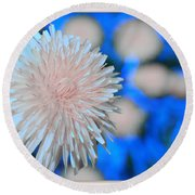 Pale Pink Bright Blue Round Beach Towel