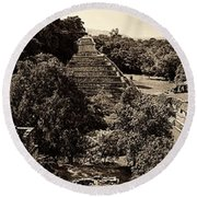 Palenque From The Jungle Panorama Sepia Round Beach Towel