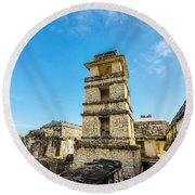Palenque Palace Tower Round Beach Towel